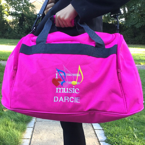 Personalised I LOVE MUSIC Bag Mini Holdall